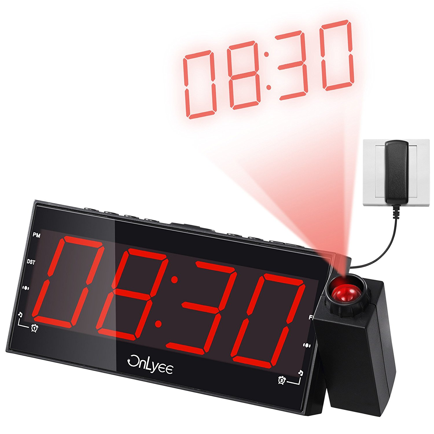 onlyee 1 8 led dimmable projection clock radio with am fm. Black Bedroom Furniture Sets. Home Design Ideas