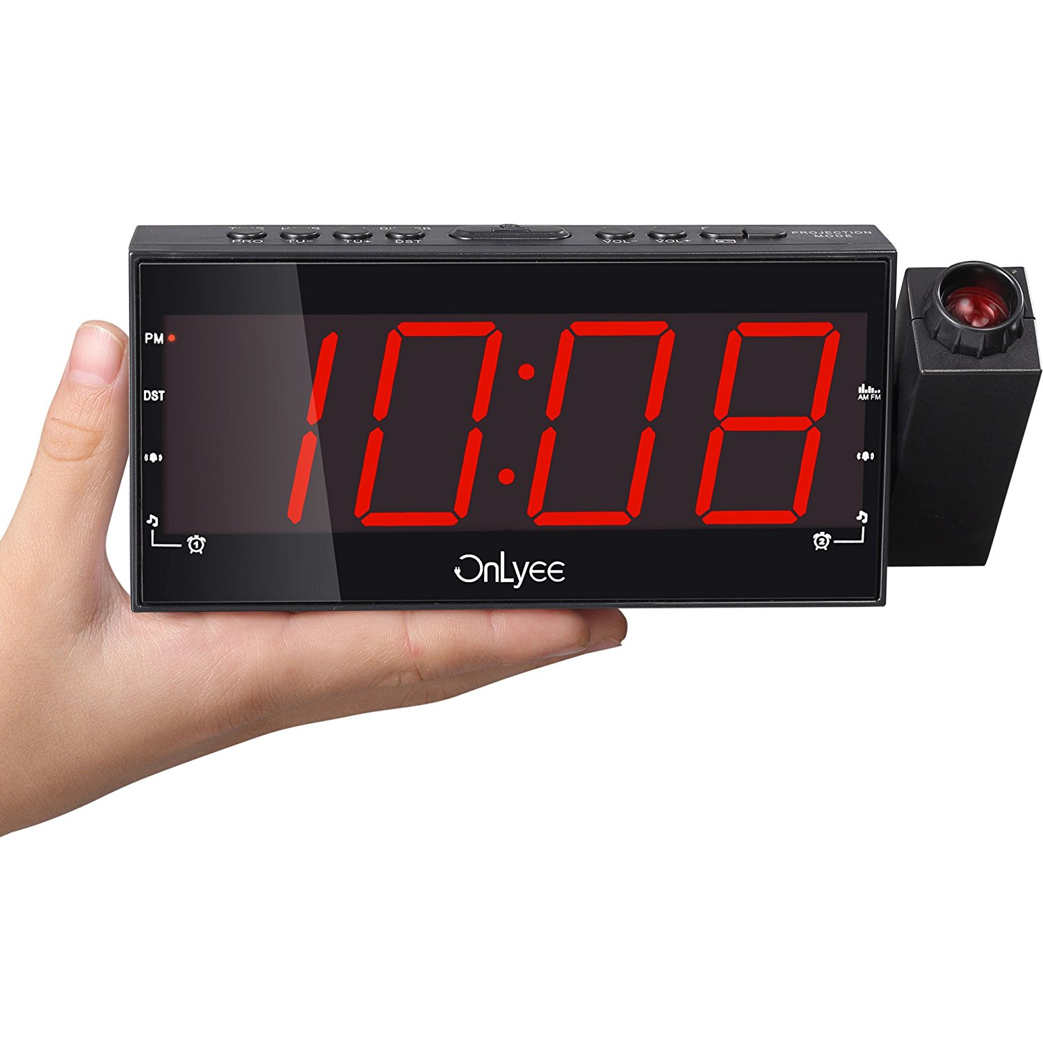 Onlyee 1 8 Led Dimmable Projection Clock Radio With Am Fm