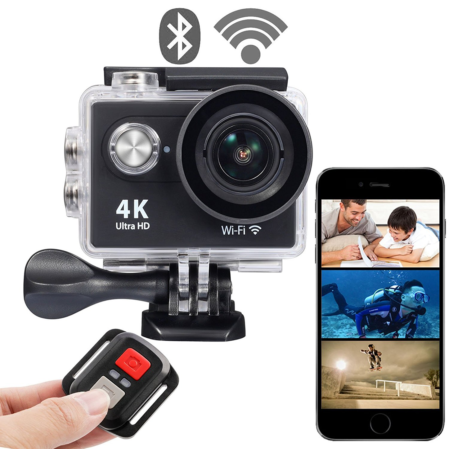 onlyee 4k wifi sports action camera ultra hd waterproof dv camcorder 12mp 170 degree wide angle. Black Bedroom Furniture Sets. Home Design Ideas